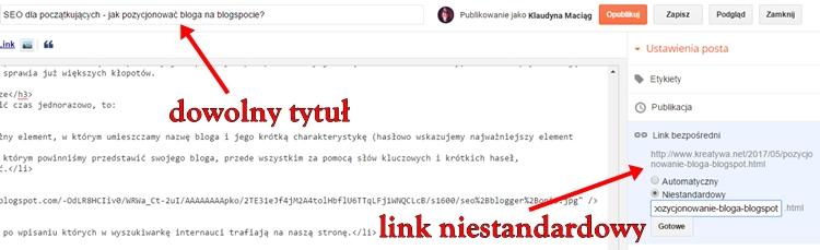 edytor wpisu nabloggerze
